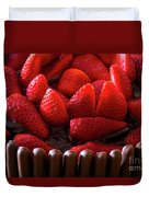 Chocolate And Strawberry Cake Duvet Cover