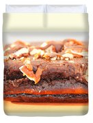 Chocolate Brownie With Nuts Dessert Duvet Cover