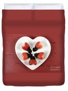 Chocolate Dipped Heart Shaped Strawberries On Heart Shape White Plate Duvet Cover