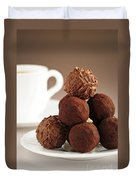 Chocolate Truffles And Coffee Duvet Cover by Elena Elisseeva