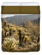 Cholla Cactus And Ocotillo Plants Duvet Cover