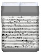 Chorus Of Shepherds, Handwritten Score Of The Opera Ascanio In Alba Duvet Cover