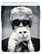 Choupette Cat And Karl Lagerfeld Duvet Cover by Laura Row