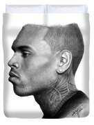 Chris Brown Drawing By Sofia Furniel Duvet Cover