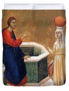 Christ And The Samaritan Woman Fragment 1311 Duvet Cover