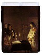 Christ Before The High Priest Duvet Cover