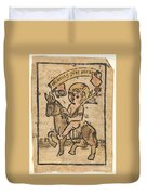 Christ Child On Donkey Duvet Cover