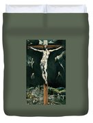 Christ Crucified With Toledo In The Background Duvet Cover