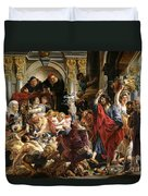 Christ Driving The Merchants From The Temple Duvet Cover