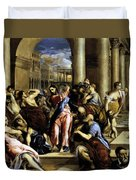 Christ Driving The Traders From The Temple 1576 Duvet Cover