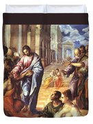 Christ Healing The Blind 1578 Duvet Cover