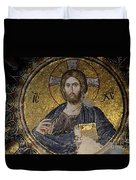 Christ Holds Bible In Mosaic At Chora Church Istanbul Turkey Duvet Cover