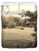 Christ In The Field Sepia Duvet Cover