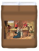 Christ In The House Of His Parents Duvet Cover by JE Millais and Rebecca Solomon
