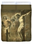 Christ On The Cross And The Good Thief Duvet Cover