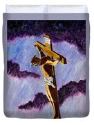 Christ On The Cross Duvet Cover by Michael Vigliotti