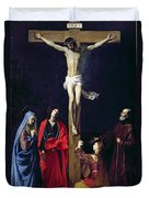 Christ On The Cross With The Virgin Mary Magdalene St John And St Francis Of Paola Duvet Cover by Nicolas Tournier