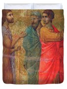 Christ On The Road To Emmaus Fragment 1311 Duvet Cover