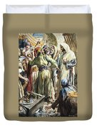 Christ Removing The Money Lenders From The Temple Duvet Cover