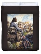 Christ Teaching Duvet Cover by English School