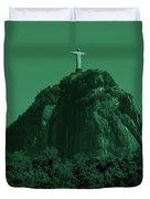 Christ The Redeemer In Green Sky Duvet Cover