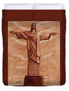 Christ The Redeemer Statue Original Coffee Painting Duvet Cover