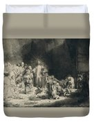 Christ With The Sick Around Him, Receiving Little Children Duvet Cover