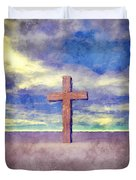 Christian Cross Landscape Duvet Cover