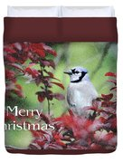 Christmas And Blue Jay Duvet Cover