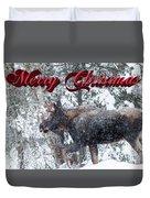 Christmas Bull Moose Duvet Cover