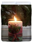 Christmas Candle Glowing On Window Sill With Snowy Evergreen Bra Duvet Cover