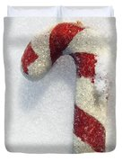 Christmas Candy Cane On Real Snow Duvet Cover