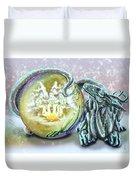 Christmas Card Dragon 2015 Duvet Cover