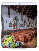 Christmas Church Flowers Duvet Cover