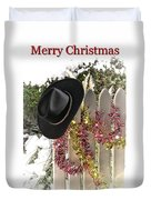 Christmas Cowboy Hat On Fence - Merry Christmas  Duvet Cover