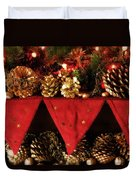 Christmas Decorations Of Garlands And Pine Cones Duvet Cover