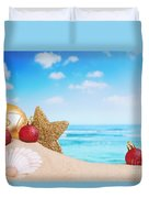 Christmas Decorations On The Beach Duvet Cover
