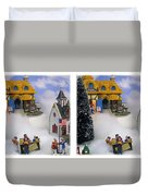 Christmas Display - Gently Cross Your Eyes And Focus On The Middle Image Duvet Cover