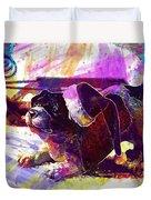Christmas Dog Santa Hat Slide  Duvet Cover