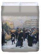 Christmas Fair  Duvet Cover by Heinrich Matvejevich Maniser