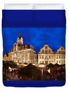 Christmas Fair In Front Of Town Hall Duvet Cover