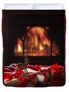 Christmas Gifts By The Fireplace Duvet Cover