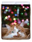 Christmas Kitty In A Basket Duvet Cover