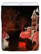 Christmas Lights At Clifton Mill Duvet Cover