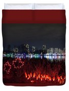 Christmas Lights At Lafarge Lake In City Of Coquitlam Duvet Cover