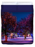 Christmas Lights At Locomotive Park Duvet Cover