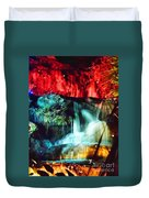 Christmas Lights At The Waterfall Duvet Cover