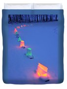 Christmas Lights In The Snow Duvet Cover