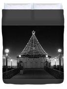 Christmas Lights On Manhattan Pier B And W Duvet Cover