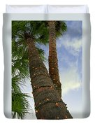 Christmas Lights On Palm Trees Duvet Cover